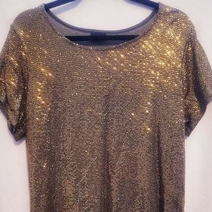 Grey/gold sequin top